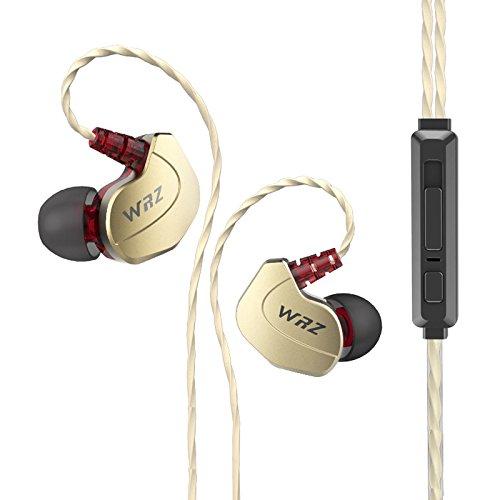 WRZ X6 ハイファイ カナル型イヤホン 騒音隔離 音量コントーロール マイクで通話可能 高品質ステレオヘッドホン 3.5mmジャック iOSやAndroidに対応 (3 in 1, ゴールド)