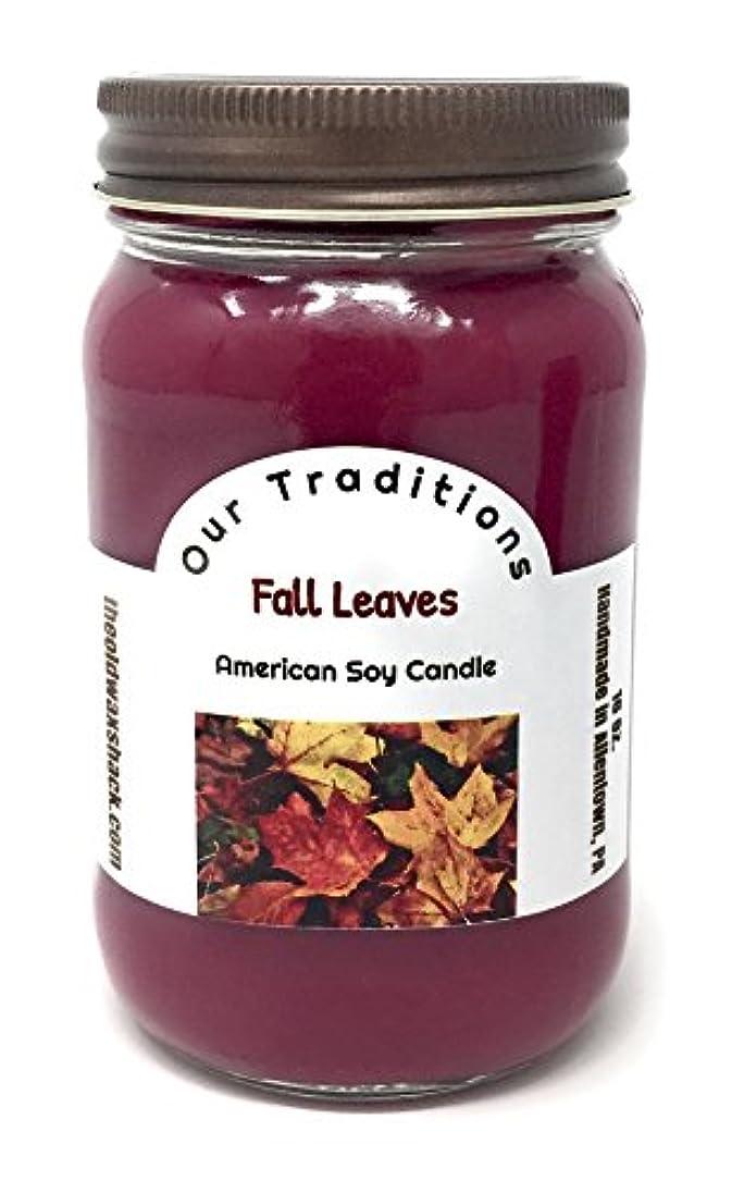 わかる後銀河Fall Leaves , Soy Candle、Earthy、秋香り、16オンスMason Jar