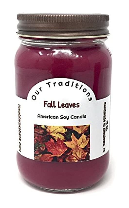 樹皮同種の論理的Fall Leaves , Soy Candle、Earthy、秋香り、16オンスMason Jar