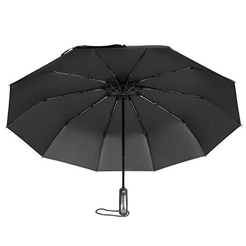 F-TUBAME 折りたたみ 傘 軽量 自動開閉 高強度抗風 傘 メンズ 日傘 折り畳み uv カット 日傘 遮光 撥水性 10本骨 コンパクト 晴雨兼用 (ブラック)