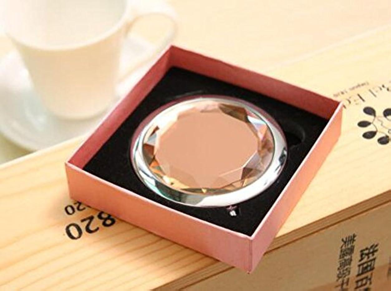 レンチトレーダー薄汚いHJ 両面 コンパクトミラー 折りたたみ 手鏡 拡大鏡付きメタル デコラティブ ハンドミラー 携帯ミラー (ピンク)