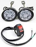 バイク用 高光量 LED フォグランプ 2個 + ハンドルスイッチセット ボールジョイントで調整簡単 10mm (6LED, フォグスイッチセット)