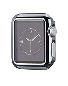 Apple Watch ケース アップルウォッチ カバー  Hoco正規品 メッキ加工ケース弧状設計 脱着簡単 全4色 (42mm, ダークグレー)