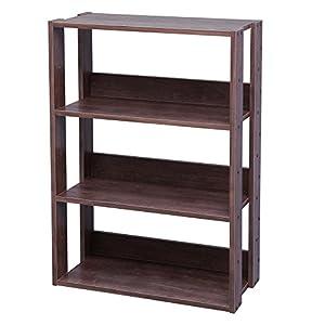アイリスオーヤマ オープン ラック 木製 3段 幅60×奥行29.2×高さ87.9cm ブラウン OWR-600