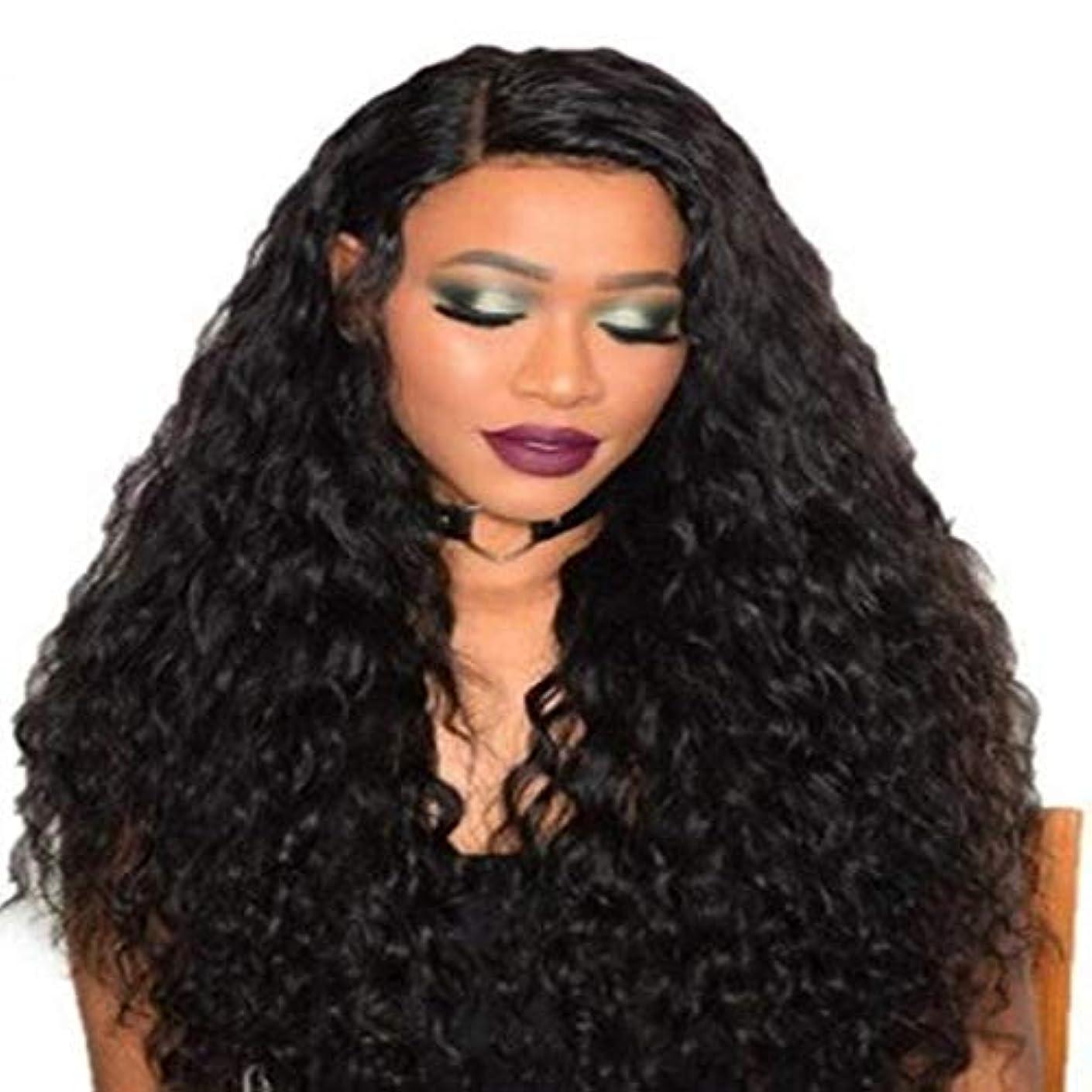 オーバードロー植生ランデブー女性の黒いトウモロコシ長い巻き毛のかつら75 cm