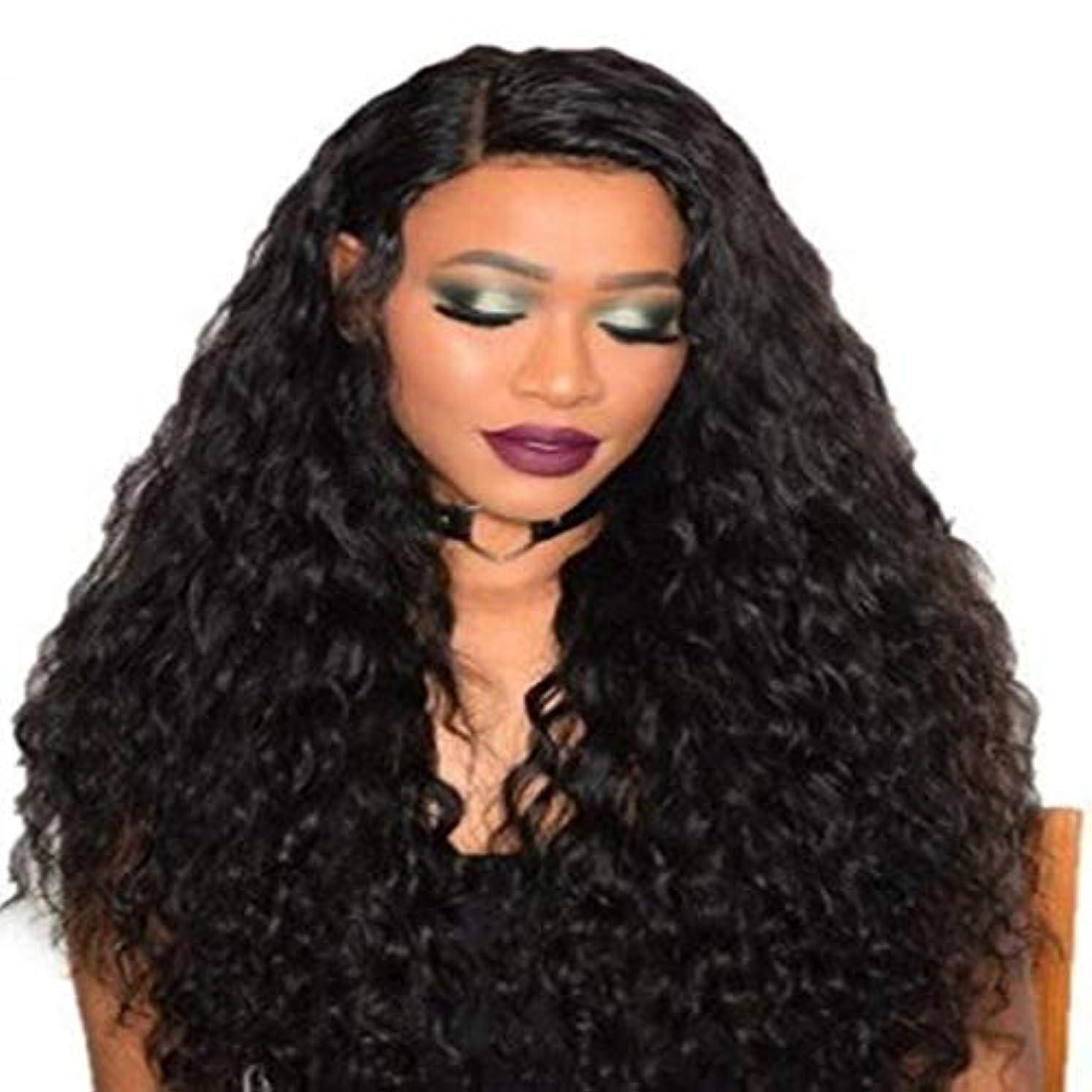 チャンピオン光沢のある雄大な女性の黒いトウモロコシ長い巻き毛のかつら75 cm