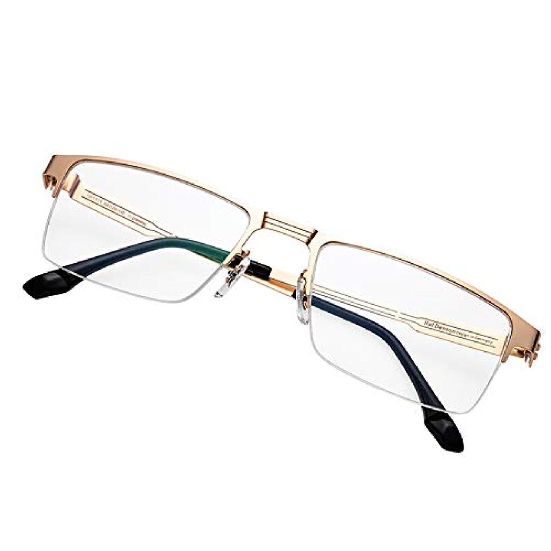 ハロウィン色合い馬力老眼鏡春の蝶番、古典的な男性用の進歩的なマルチフォーカスメタルハーフフレーム読書用メガネ、青いメガネをブロックするコンピュータカードリーダー