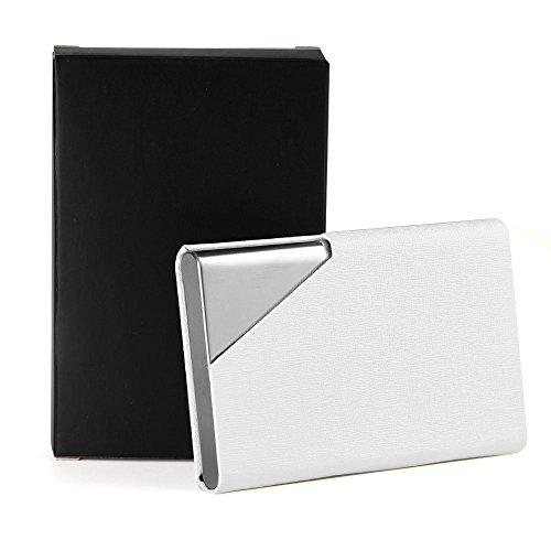 KUUQA 名刺入れ PU革とアルミ材質 ステンレス製 メンズ・レディースも兼用 薄い 大容量 20枚ぐらい入れ 白 黒 金 シルバグレイ サファイアブルー五色可選択 (白)