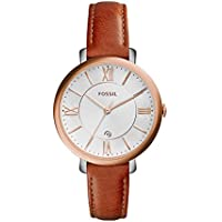 Fossil Women's Jacqueline Watch In Rose Goldtone With Light Brown Leather Strap