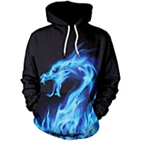 Ruiyue Women Men Brand Winter Hip-hop Punk Women Men Blue Spit Flame Dragon Sweatshir 3D Printed Cartoon Hoodies Pullovers Colorful Hoodie Sweatshirts (Size : M)