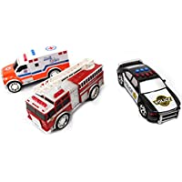 AZ Trading & Import PS2014 Kids Emergency Vehicle Playset with Fire Truck, Police Car & Ambulance