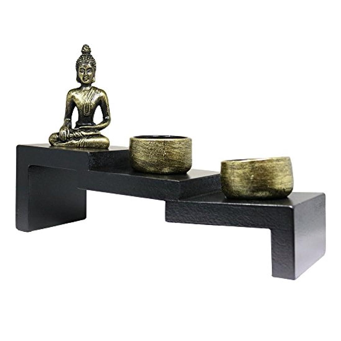 輝度虐殺三(Buddha Stairs) - Tabletop Incense Burner Gifts & Decor Zen Garden Kit with Statue Candle Holder USA SELLER (Buddha...