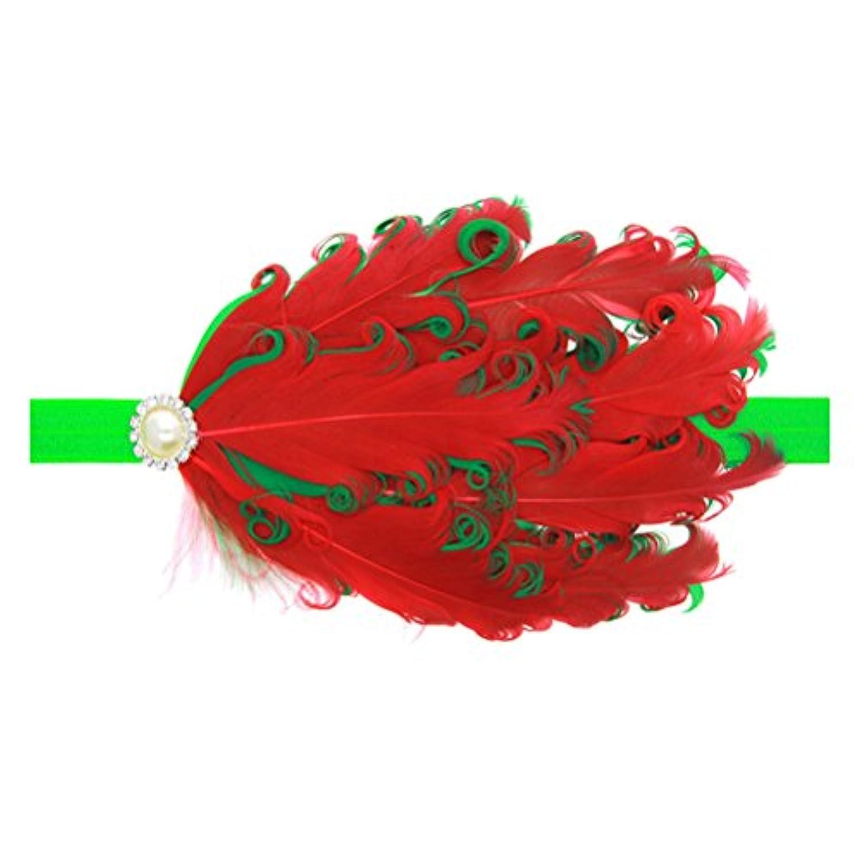 Zhhlaixing ベビー小物 Kids Baby Girls Soft Elastic Feathers Headband Hairband Hair Accessories for Christmas 5128