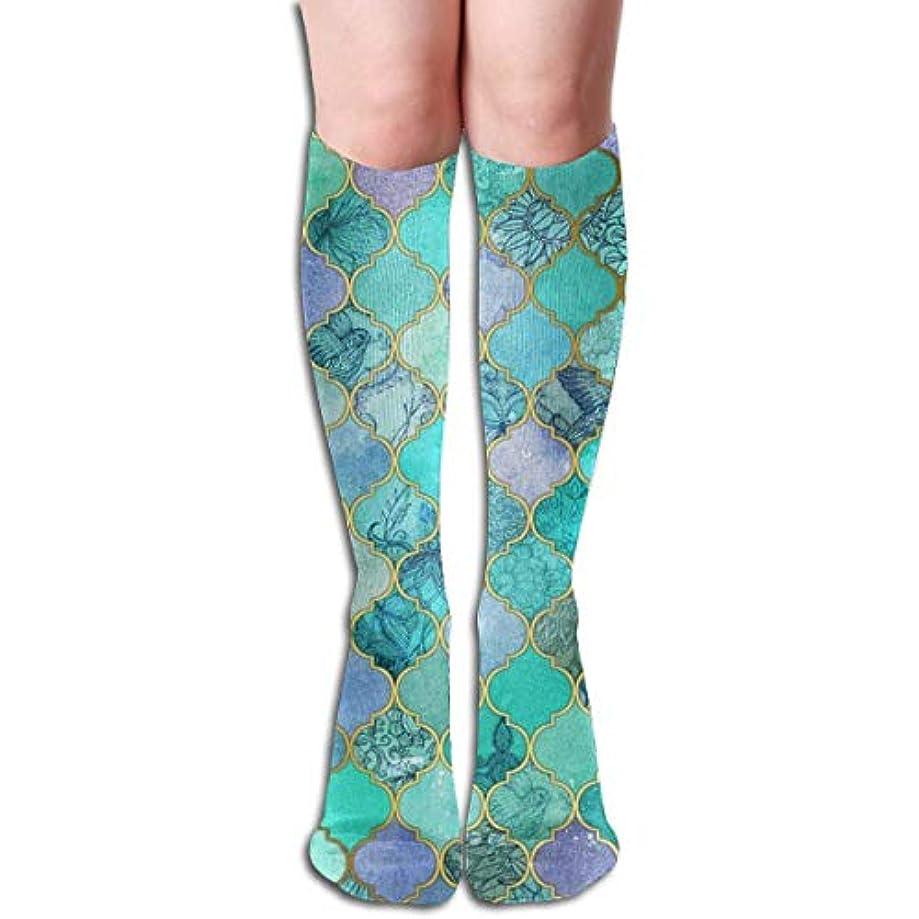解読するテクトニック減衰QRRIYグリーンマーメイド魚スケール- 3 D抗菌アスレチックソックス圧縮靴下クルーソックスロングスポーツ膝ハイソックス少年少女キッズ幼児