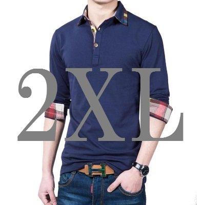 (メイク トゥ ビー) Make 2 Be カジュアル チェック 柄 ポロシャツ ゴルフ 重ね着風 襟 ワンポイント MF31 (23.長袖_紺_2XL)
