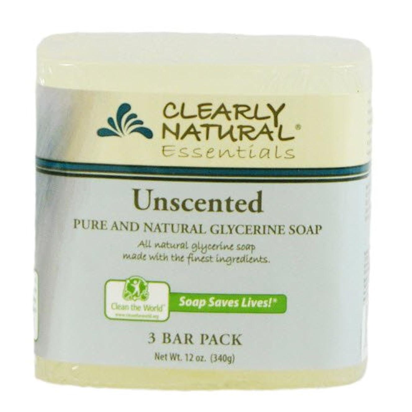 神精巧な明らかにするClearly Natural, Pure and Natural Glycerine Soap, Unscented, 3 Bar Pack, 4 oz Each