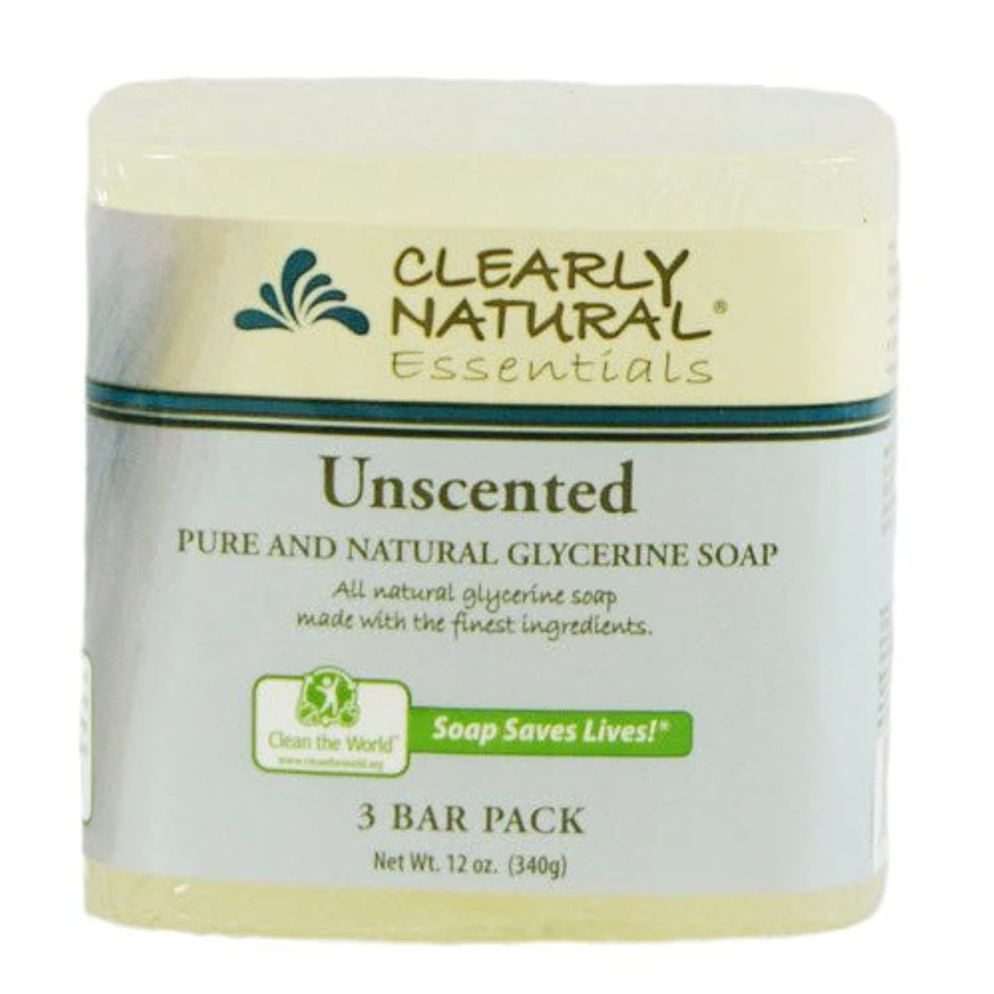 西ストラトフォードオンエイボン人生を作るClearly Natural, Pure and Natural Glycerine Soap, Unscented, 3 Bar Pack, 4 oz Each