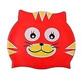 ELTD スイミングキャップ 子供用スイミング帽 可愛い スイムキャップ シリコーンキャップ 伸縮性良く 競泳 海水浴 猫 レッド
