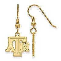 Texas A & M Small ( 1/ 2インチ)ダングルイヤリングワイヤ(ゴールドメッキ)