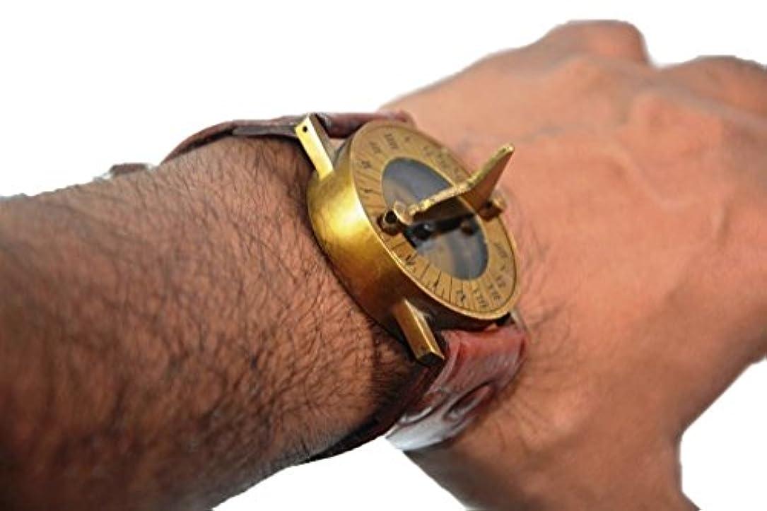 もろい億クッションアンティークスチームパンク手首真鍮コンパス& sundial-watch withレザーストラップSundial