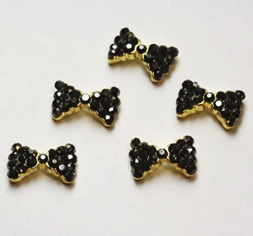 飼いならす展示会アリーナジェルネイル ネイルデコ用 3Dネイルジュエリー 5個セット (リボン(ゴールド×ブラック)