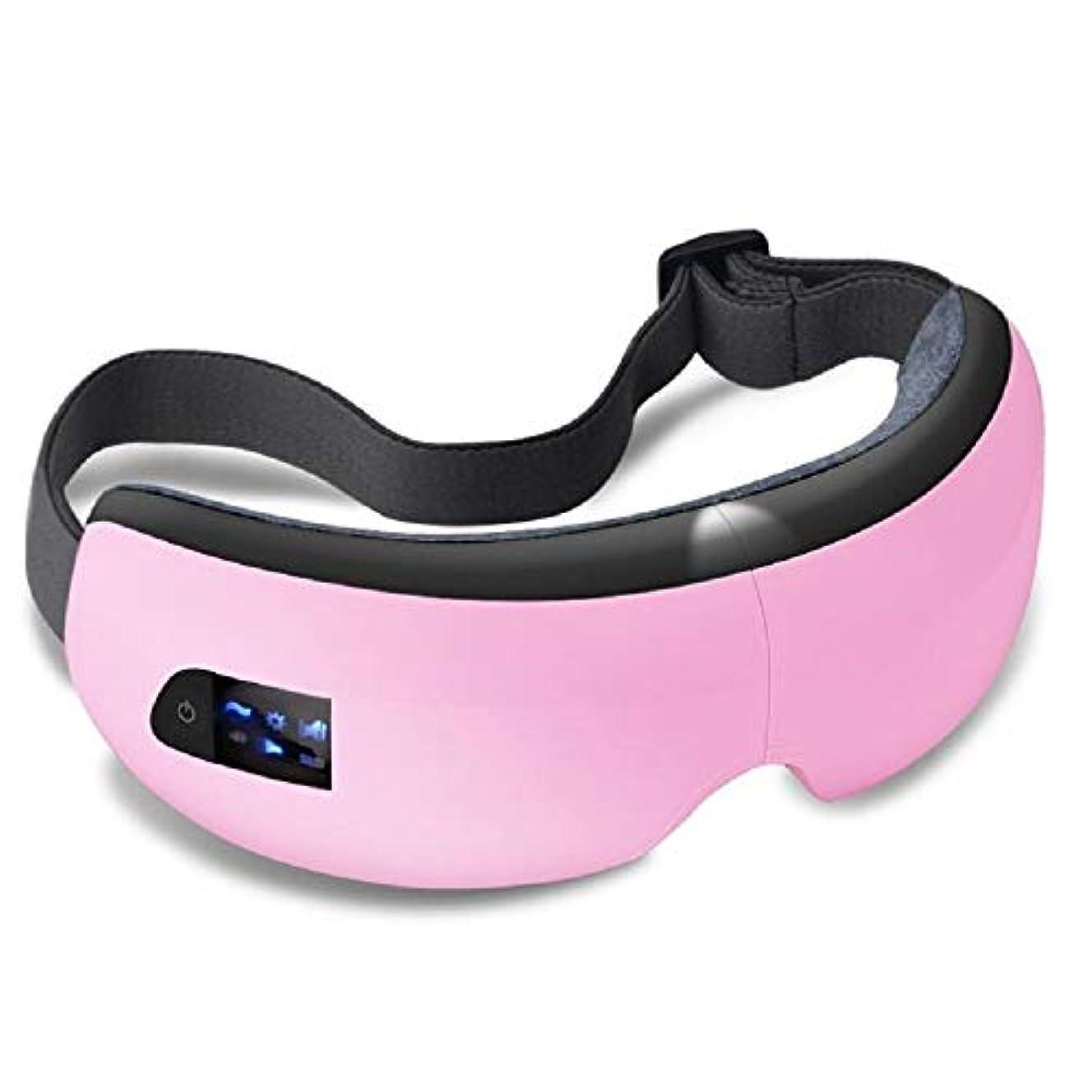 クローゼット前置詞良性アイバッグ、ダークサークル、アイ疲労、ドライアイのための空気圧振動とブルートゥース機能付き熱圧縮充電式ワイヤレスアイマッサージャーマスク付き電動アイマッサージャー (Color : Pink)