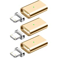 【Soul ⓔ】 断線防止 マグネット アダプター USB Adapter マグネットケーブル 充電 Magnetic データー通信可 LED Light 付き マグネットアダプタ 磁石 防塵 アイホンケーブル アイフォンケーブル Apple iPad Air / Air 2 / mini / mini 2 / Mini 3 iPhone6 / 6 Plus iPhone7 / 7 Plus iPhone 5S / 5 iPad 第4世代、iPod 第5世代 および iPod nano 第7世代 に対応 (7. ゴールド 3個セット)