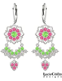 Lucia Costin Chandelier Earrings Made of .925 Sterling Silver with Light Green and Pink Swarovski Crystals, Enriched...