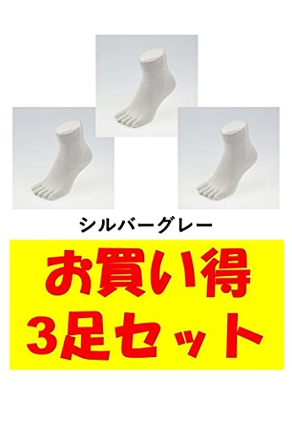 勇気ワイド可聴お買い得3足セット 5本指 ゆびのばソックス Neo EVE(イヴ) シルバーグレー Sサイズ(21.0cm - 24.0cm) YSNEVE-SGL