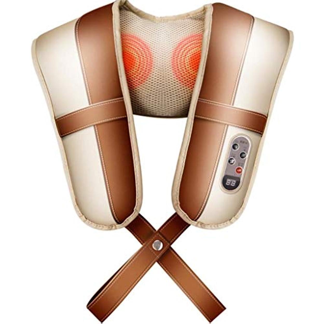 解釈する北柔らかいマッサージ枕、ポータブル電動ネック/バック、肩マッサージャー、加熱混練マッサージ枕、筋弛緩に適した、オフィスカーをリラックス