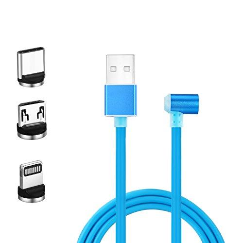 IRIS GEMMA マグネット ケーブル Lightning & Micro-USB & Type C 対応 急速充電ケーブル (1メートル) 結構強力な磁力 防塵機能 LEDライトの点灯 iPhone / iPad / Samsung / Huawei/ Xperia対応