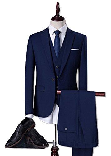 【HAFOS】(ハフォス) イギリス 英国風 メンズ スーツ3セット スーツカバー付き ジャケット ベスト ズボン ビジネススーツ オシャレ 高画質 カジュアル スリム スタイリッシュ スーツカバー付き (XXXL)