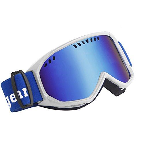 Unigear スキーゴーグル スノボートゴーグル UVカット 耐衝撃 防塵 防風 めがね対応 登山/スキー/バイク/アウトドアスポーツに全面適用 男女兼用 (ブルーレンズ VLT11%)