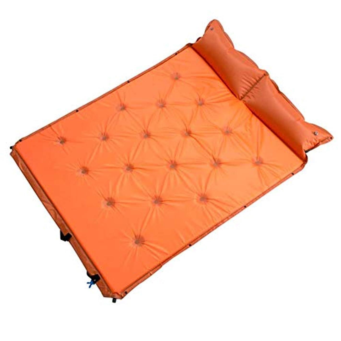決済タイムリーな放射性自動インフレータブルランチクッションパッド、ピクニックダブルポータブルスプライシング CongMing (色 : Orange)