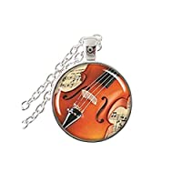 ヴィンテージギターの宝石ギターネックレス楽器のペンダントアートピクチャーガラスカボションネックレスペンダントジュエリー
