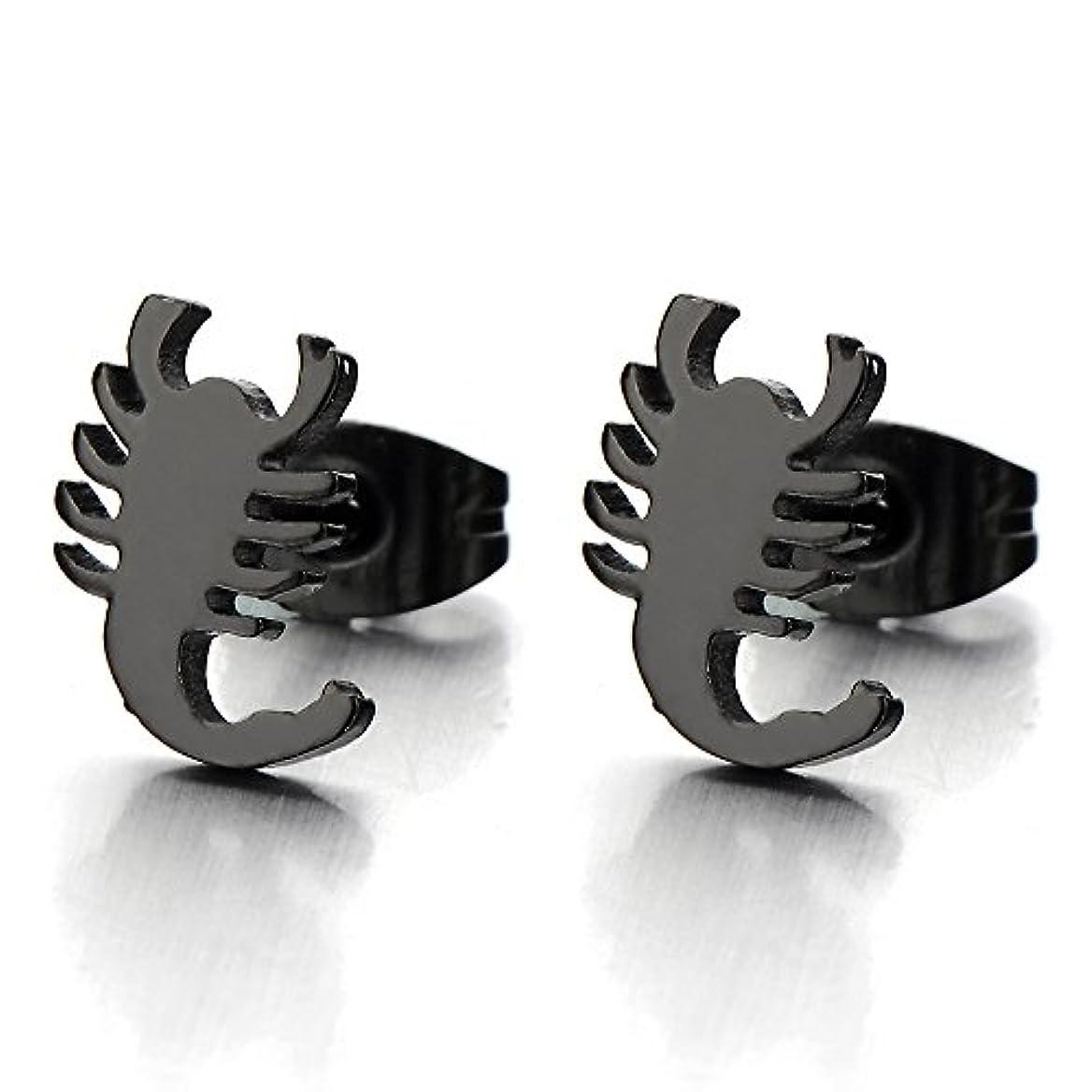 兵士広まった複製するメンズブラックScorpion Kingスタッドイヤリングでステンレス鋼ゴシックバイカーパンクロック、2個