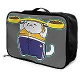 レッドカラー 猫 デブ ボストンバッグ キャリーオンバッグ ガーメントバッグ 手提げ 鞄 バッグ ハンドバッグ 旅行 男女兼用 機内持込可 収納整理 折りたたみ トラベルバッグ フォールディングバッグ