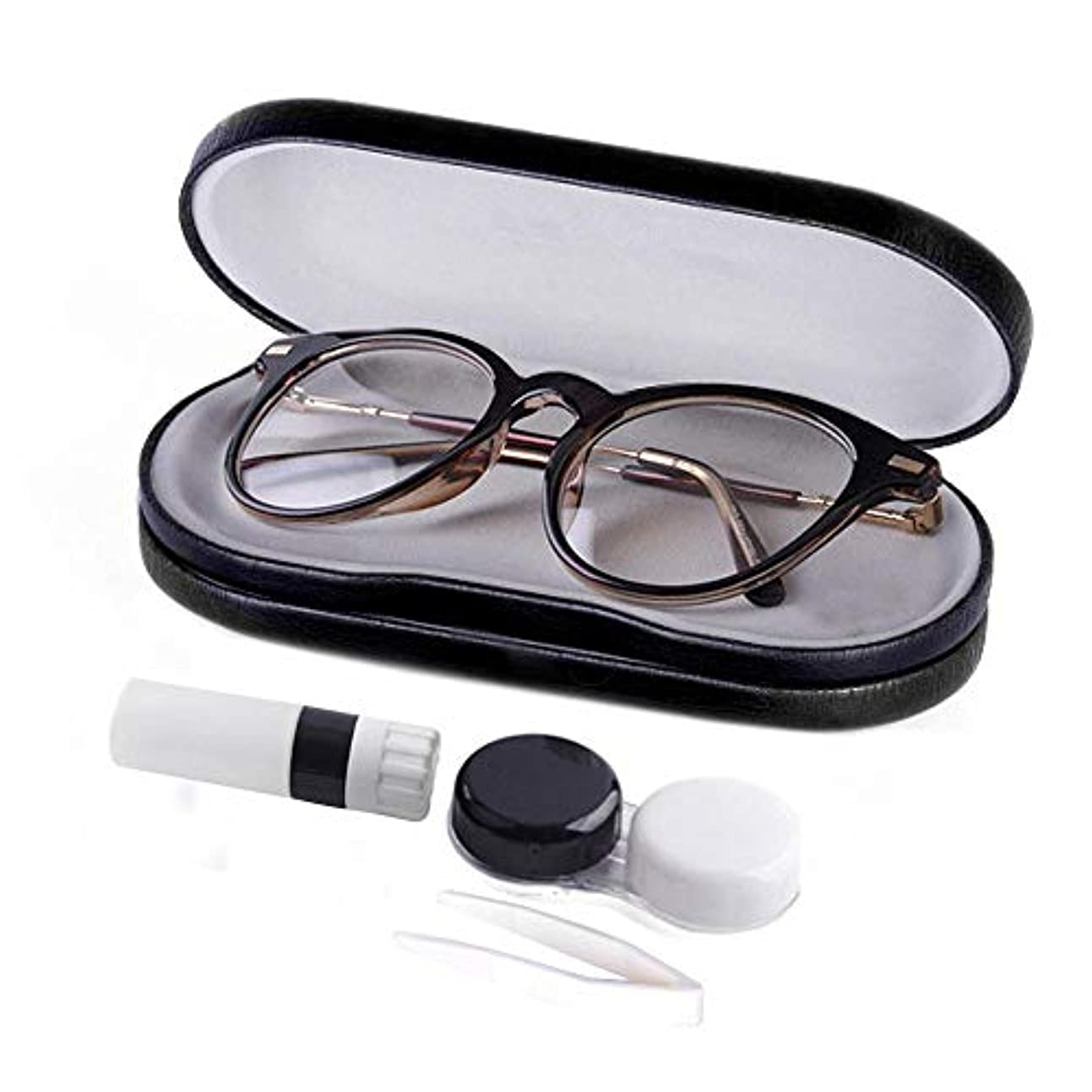 感情レンディションニッケルColdwhite 旅行用に革新的 なコンタクトレンズケース 両面メガネ収納ケース ブラック16x7x5cm / 3x2.4x0.9inch(LxWxH)