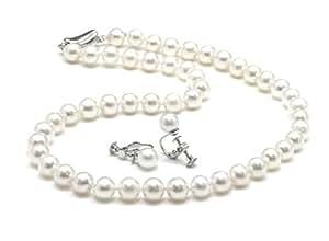 冠婚葬祭用 本真珠ネックレス&イヤリングセット(またはピアスセット) 7.5-8.0mm ハートキーパーボックス付 【品質保証】