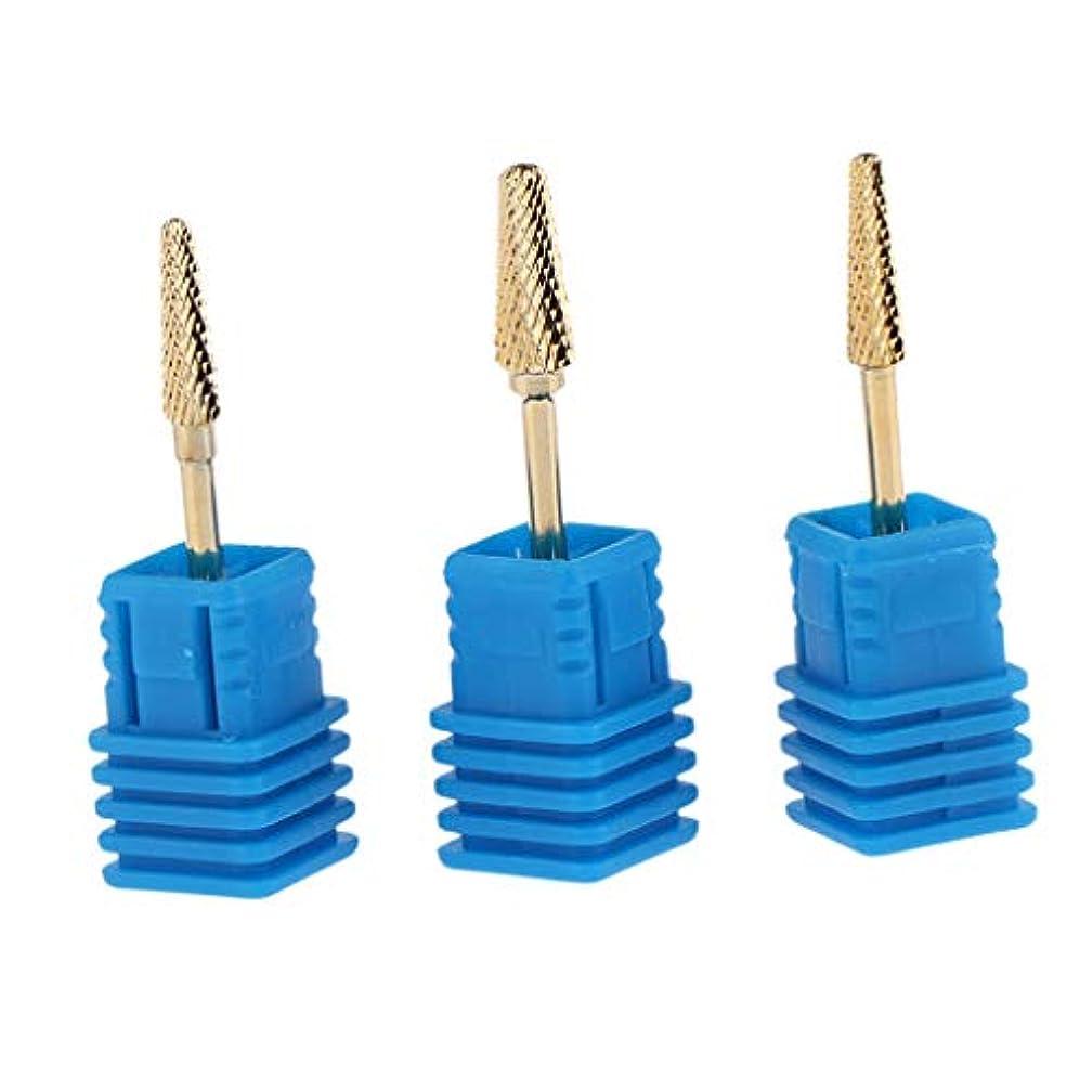 電圧見る人悪因子Injoyo 小型バレルヘッド ネイルドリルビットセット アタッチメント 爪磨き キューティクル シルキータッチ 3個