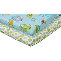 NoJo Little Bedding 2 Count Crib Sheet Set, Ocean Dreams by NoJo [並行輸入品]