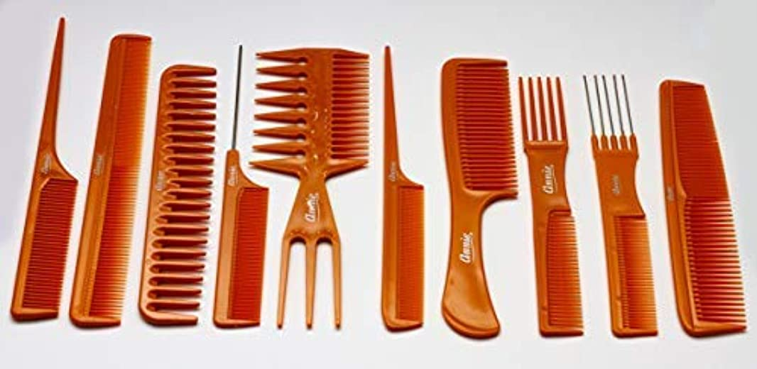 測るガラガラエンドテーブルAnnie 10 Piece Professional Comb Set color - Bone, perfect for styling hair, hair style, hair stylist, long hair...
