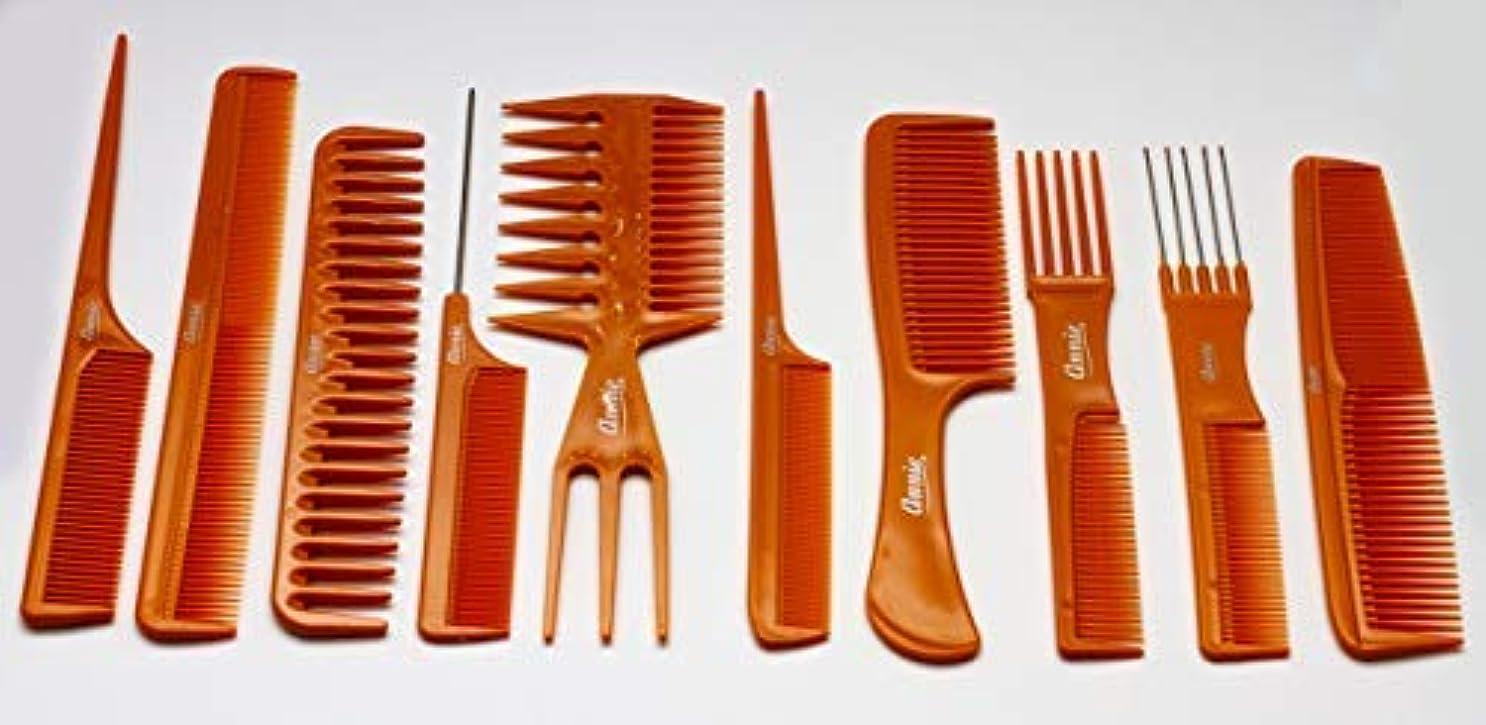 メタルラインかすれたフットボールAnnie 10 Piece Professional Comb Set color - Bone, perfect for styling hair, hair style, hair stylist, long hair...