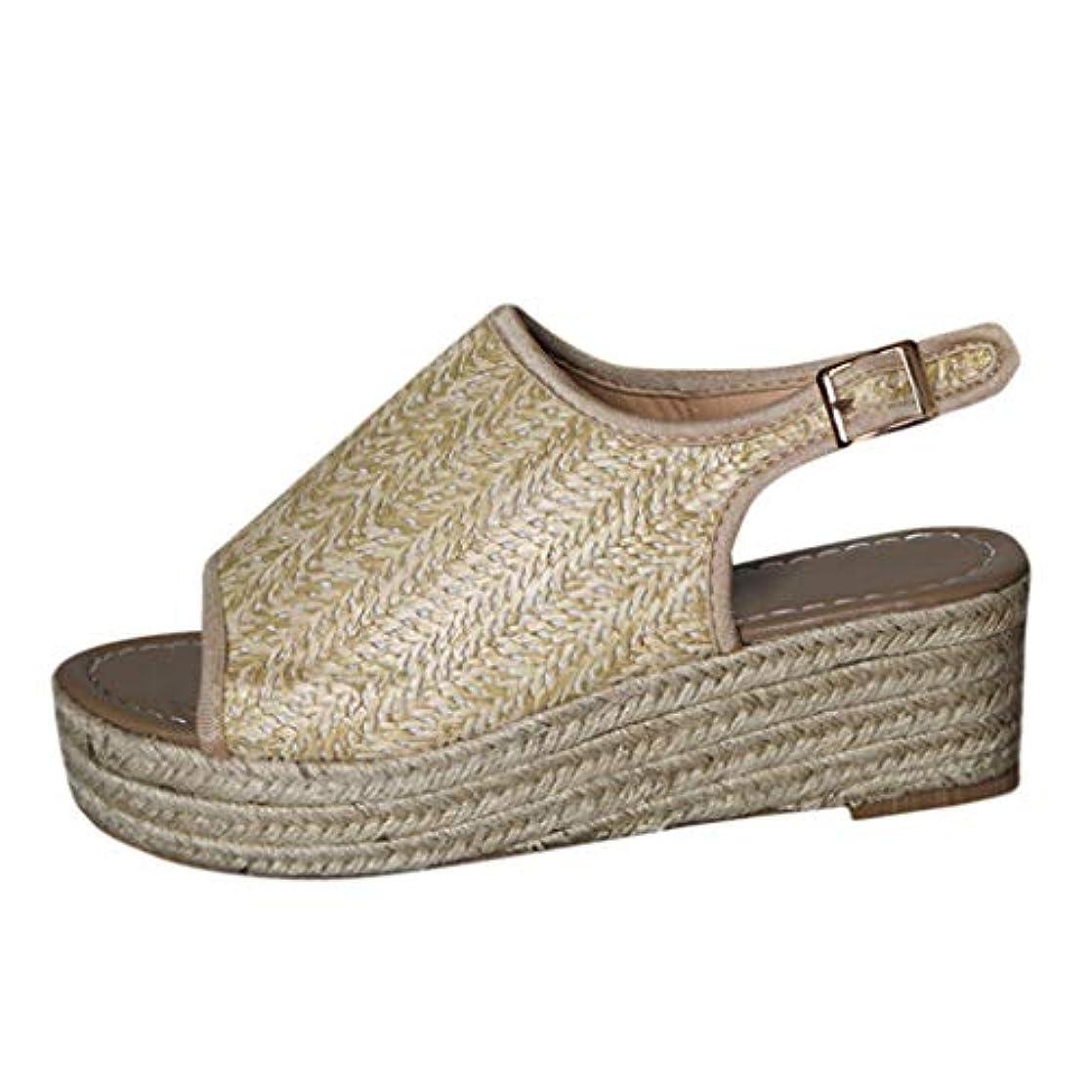 溶接家庭教師無視するレディース サンダル Tongdaxinxi 婦人向け ファッション オープントゥアンクルストラップサンダル カジュアル ローマンシューズ 滑りにくい シンプル ウェッジソール 厚底 サンダル 快適 美脚 脚長 効果
