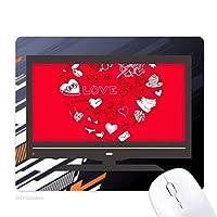 バレンタインデーの白と赤の心 ノンスリップラバーマウスパッドはコンピュータゲームのオフィス