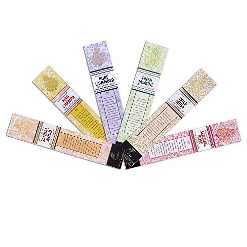 油三角医薬品SVATV :: Hand Rolled Masala Incense Stick/手巻きマサラ香 15g Pack 6 Fragrance (Nagchampa, Sandalwood, Lavender, Rose, Musk, Jasmine) Made In India