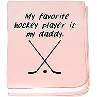 CafePress – My Favorite Hockey Player Is My Daddy – スーパーソフトベビー毛布、新生児おくるみ ピンク 12634447586832E
