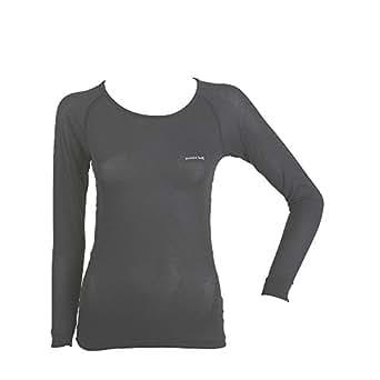 (モンベル)mont-bell ジオラインL.W.ラウンドネックシャツ Women's 1107575 BK ブラック S