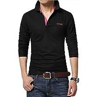 Gaosa  メンズ 長袖  ポロシャツ スポーツ ゴルフウェア シンプル カジュアル Tシャツ おしゃれ 大きいサイズ 父の日ギフト プレゼント (黒&赤, XL)