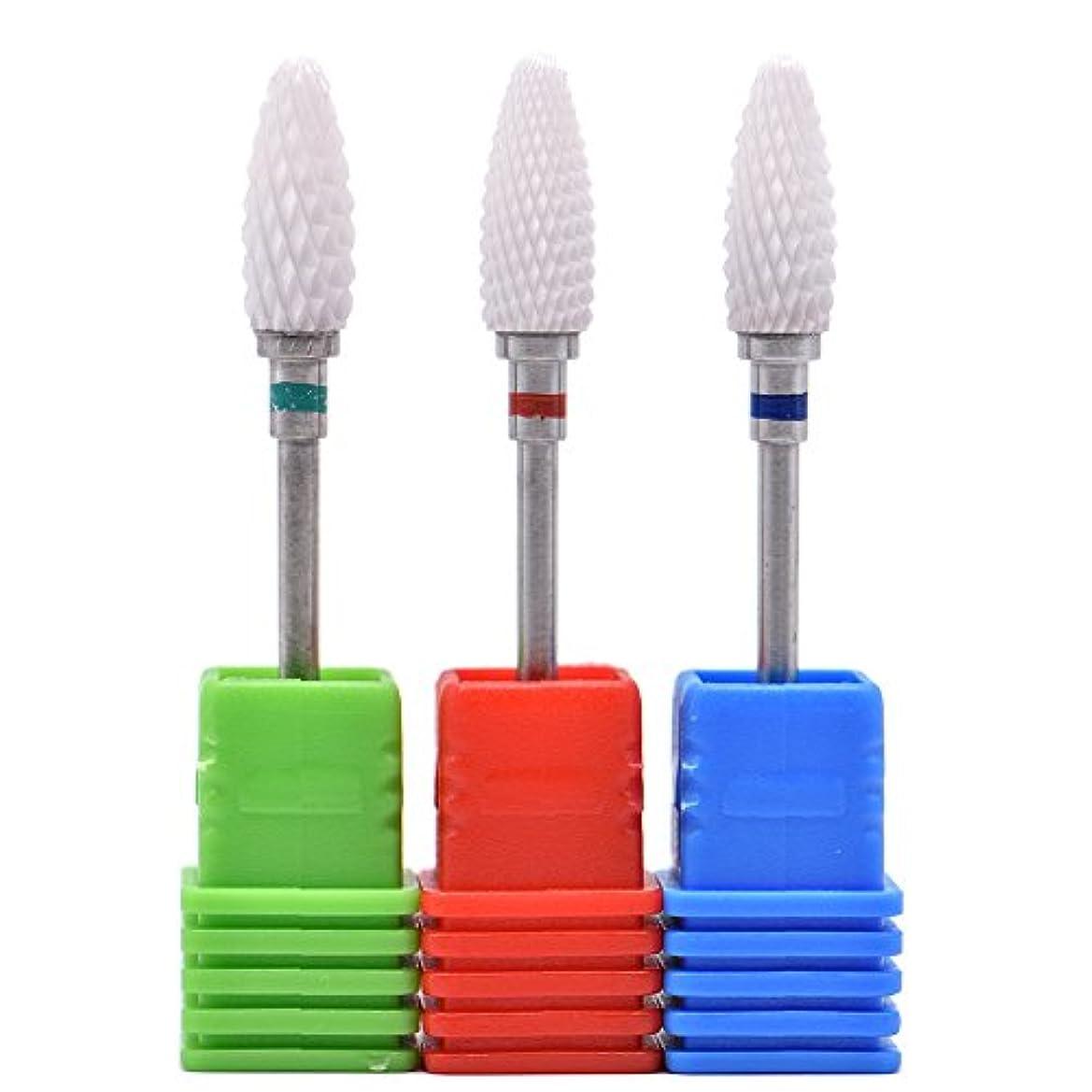 巨大な価値ヒュームOral Dentistry ネイルアート ドリルビット 長い 研磨ヘッド ネイル グラインド ヘッド 爪 磨き 研磨 研削 セラミック 全3色 (レッドF(微研削)+グリーンC(粗研削)+ブルーM(中仕上げ))